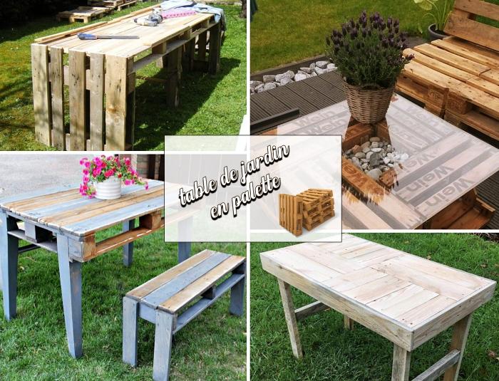 faire meubles de jardin en palettes, décoration espace extérieur avec meubles DIY, bricolage avec palettes facile