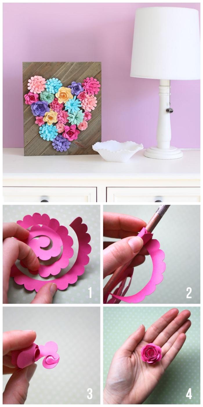 un cadre déco en bois décoré de fleurs en papier en forme de coeur, tuto fleur en papier facile, rose fabriquée à partir d'une frise de papier enroulée