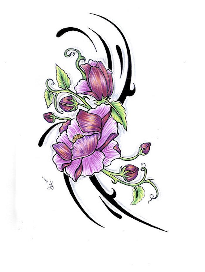 Violet fleur de pissenlit dessin de rose dessins de fleurs de printemps tatouage lignes