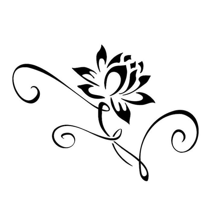 Dessin pour tatouage, une fleur de printemps, lys dessin de fleur, dessiner pour débutants