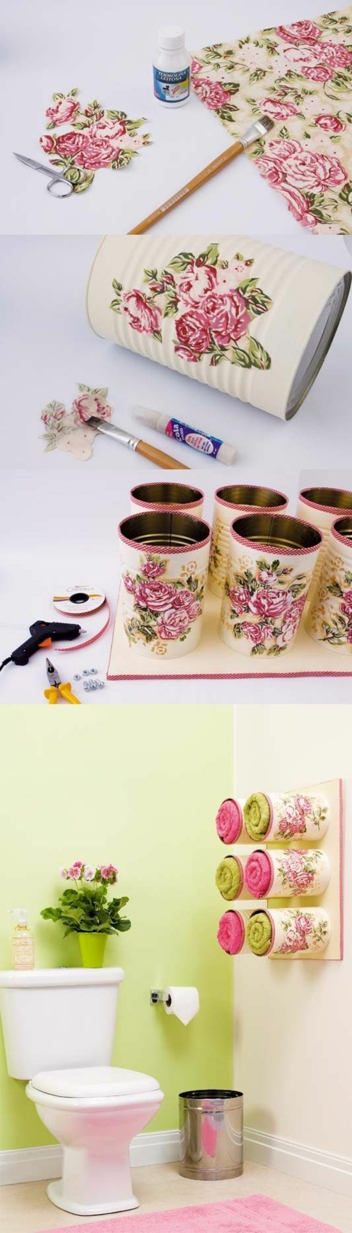 comment décorer des boîtes conserve avec serviette, tutoriel découpage facile, rangement serviette original diy