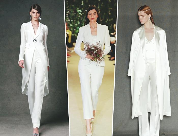 vêtements pour mariée, modèle de costume deux pièces avec pantalon et blazer long, quelle matière pour tailleur mariée