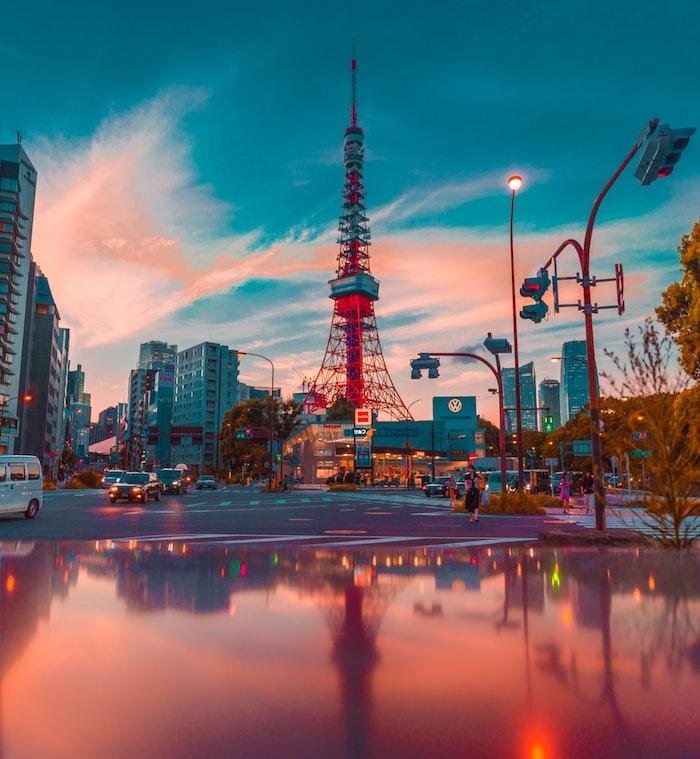 Tokyo paysage ville pluie, japon paysage automne, Asia paysage Tokyo tour rouge, les villes asiatiques belles