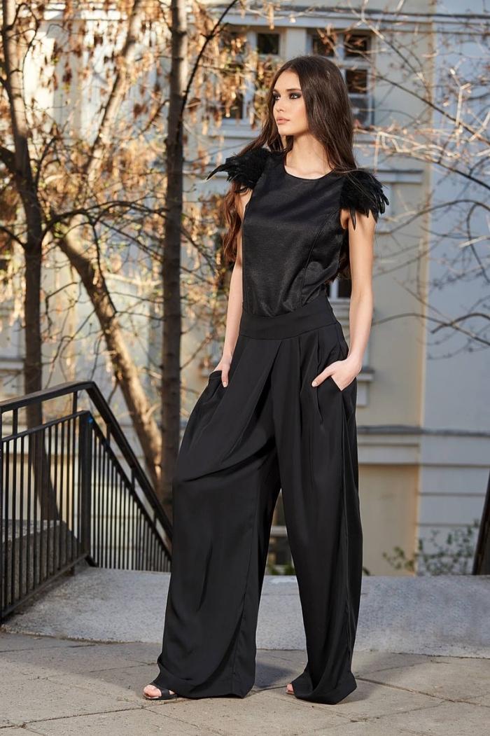 look total noir pour femme, idée vêtement pour occasion spéciale, ensemble tailleur pantalon femme de couleur noir