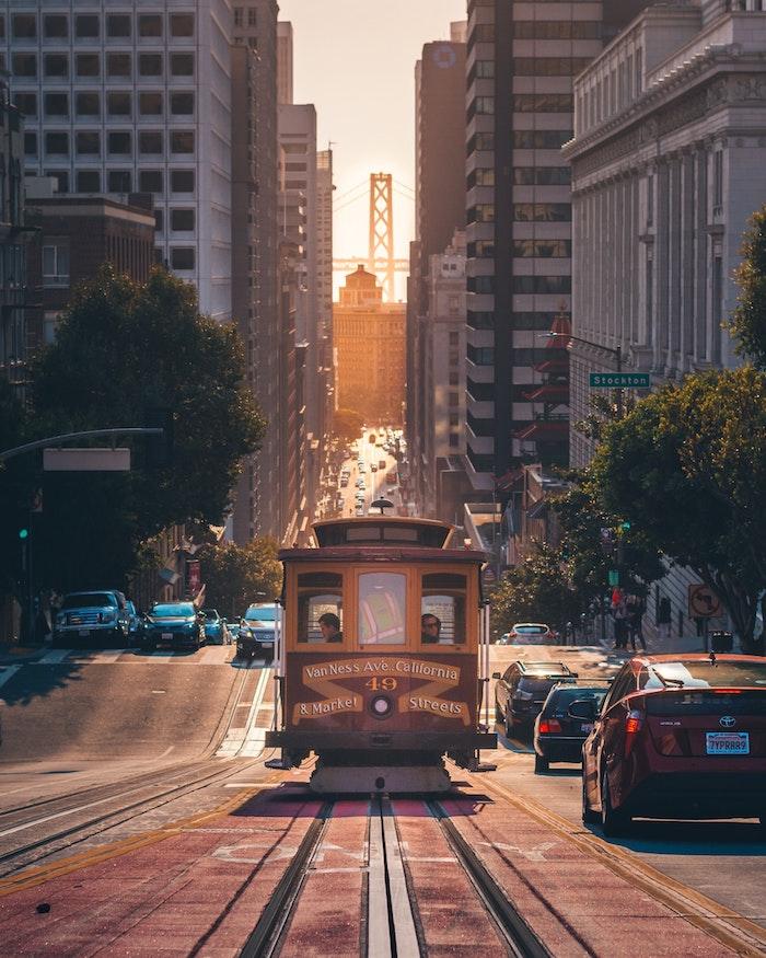 San Francisco tram et pont fond ecran paysage, chine paysage, idée art photo urbaine