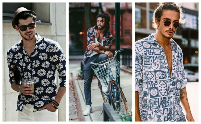 comment porter la tenue hippie chic homme, chemises imprimées, chapeaux, pantalons slim, coiffure chignon homme