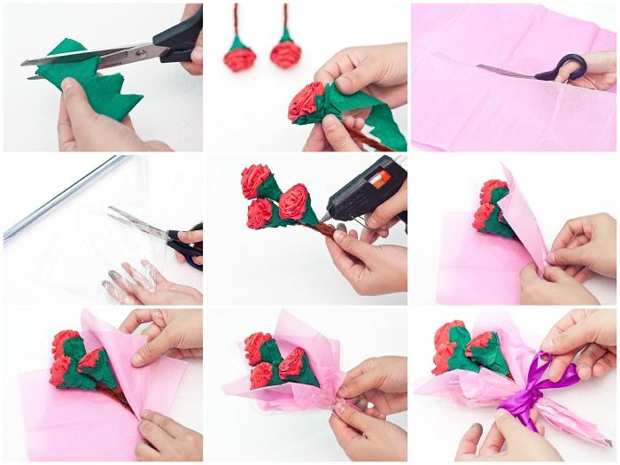 tuto facile pour emballer un bouquet de roses en papier pour la fête des mères