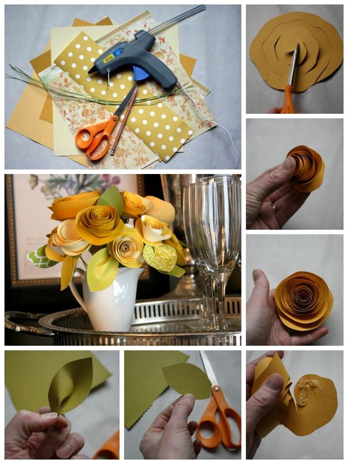 joli bouquet printanier réalisé avec des roses en papier, tuto fleur en papier facile pour faire une rose à partir d'une spirale découpée dans du papier