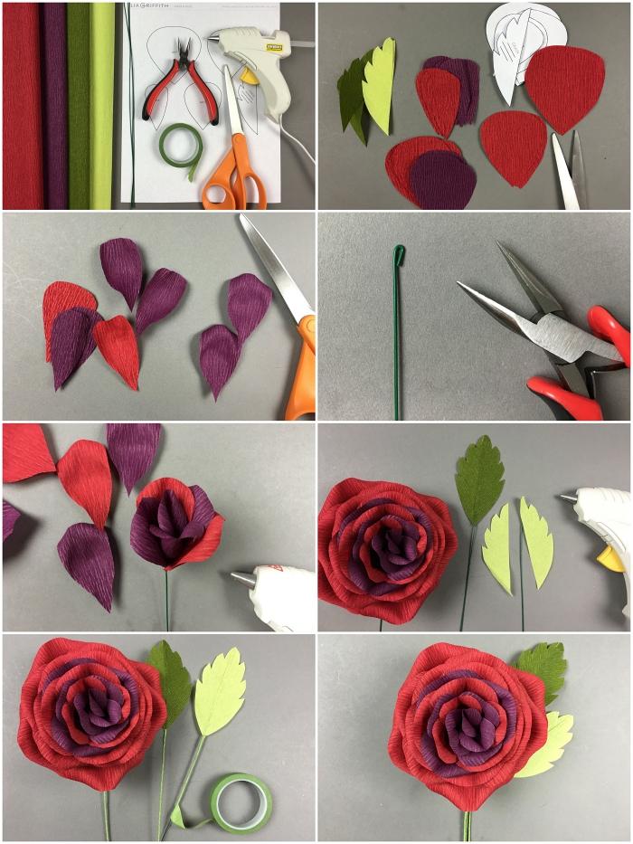 jolie rose en papier crepon d'aspect brillant aux nuances riches du rouge avec feuilles en papier