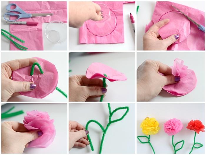 tuto facile pour apprendre à réalise une fleur en papier de soie avec tige en fil chenille, bricolage de printemps facile et rapide