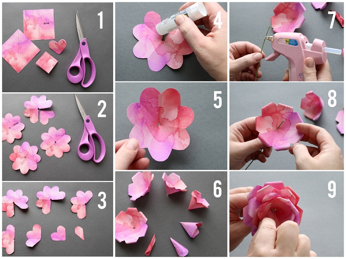 comment fabriquer une fleur en papier facile, tuto pas à pas pour réaliser une rose en papier effet aquarelle