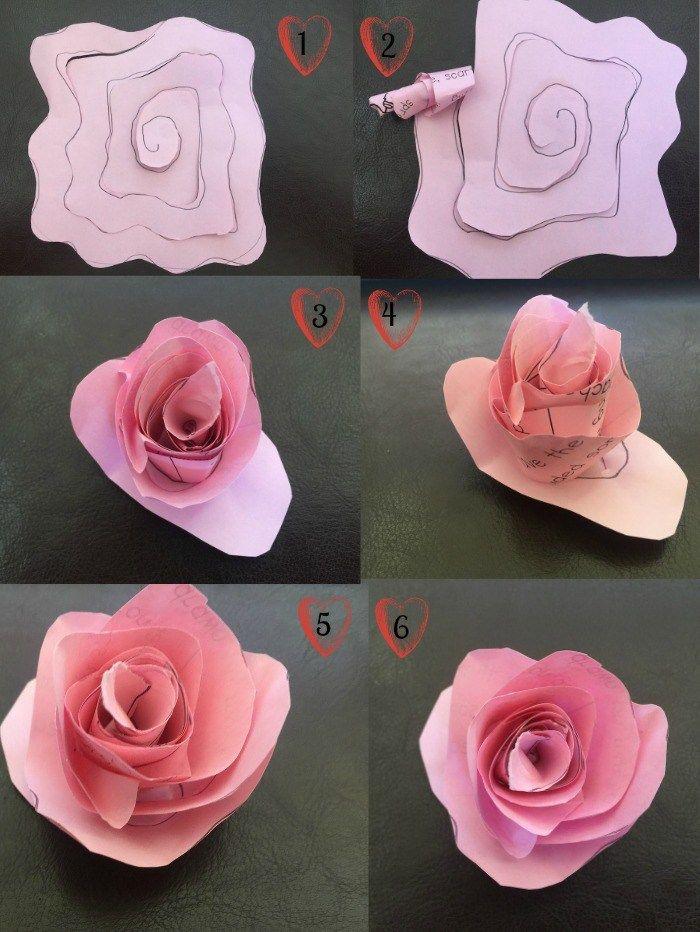 tuto fleur en papier réalisée à partir d'un dessin de spirale découpée dans du papier, technique simple pour réaliser une fleur en papier