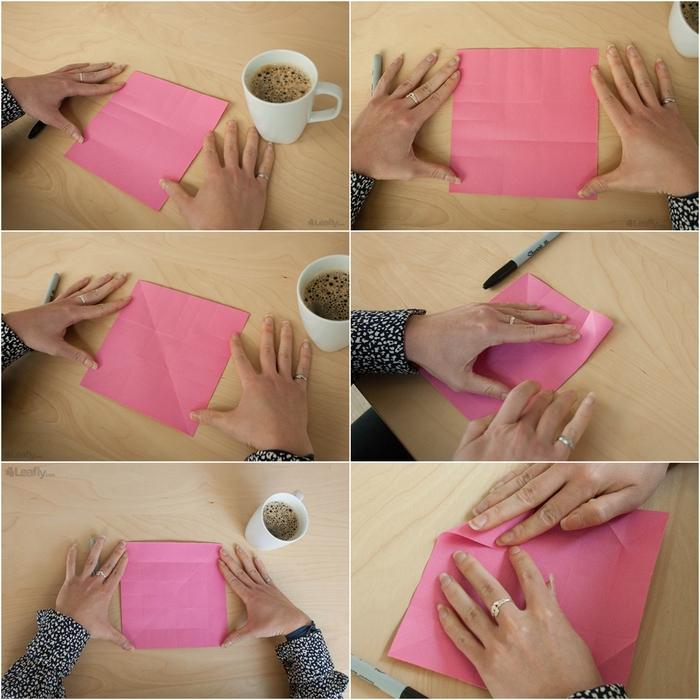 technique de pliage facile d'une mini boîte origami en forme de bourgeon de rose, modèle original d'origami rose