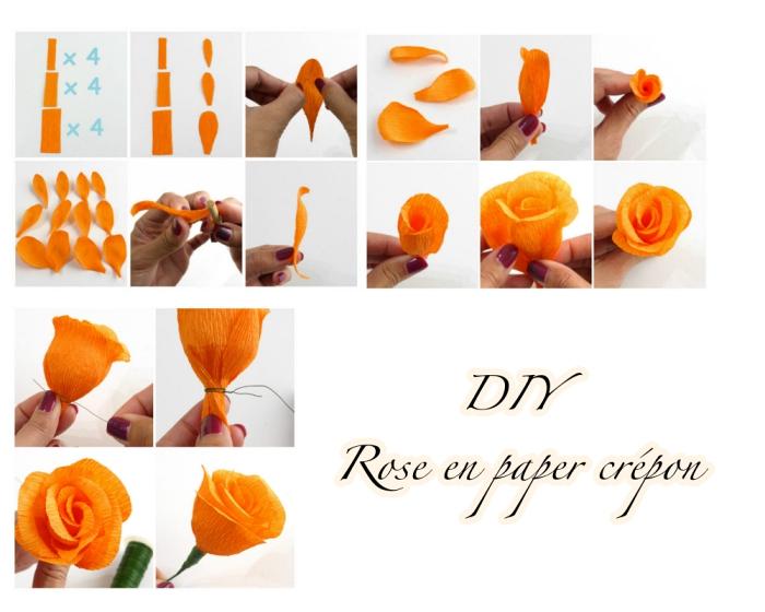 comment faire des fleurs en papier crépon, tuto étape par étape pour réaliser une rose orange en papier crépon