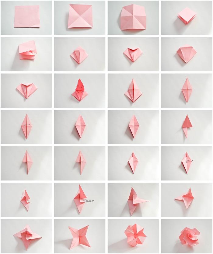 pliage d'une origami rose et ses instructions détaillées illustrées, modèle d'une jolie rose origami