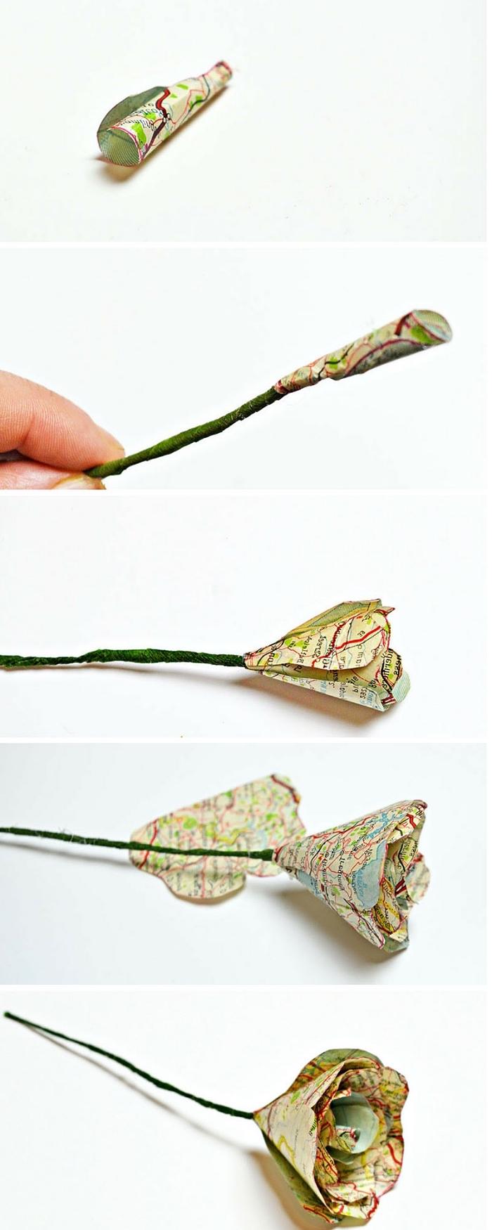 comment faire une rose vintage en papier récup, tuto fleur en papier facile avec pétales découpées dans une ancienne carte routière