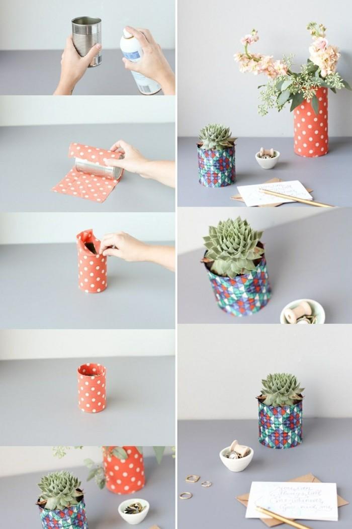 étapes à suivre pour faire un pot à fleur original, recyclage boite de conserve facile, décorer une canette avec papier
