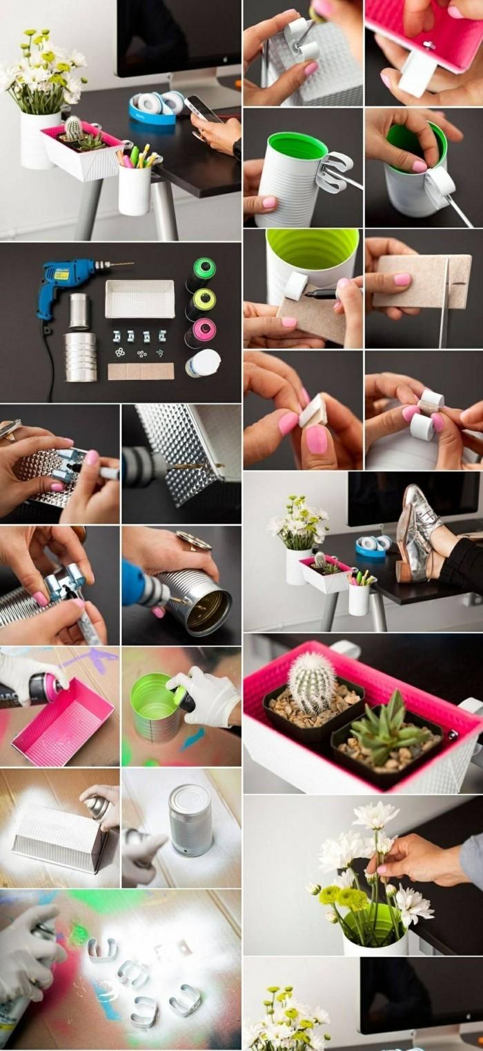 étapes à suivre pour réaliser des objets bureau, diy organiser bureau pour crayon ou plantes en boîte de conserve recyclée