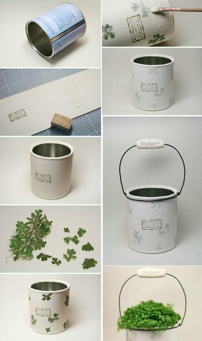 idée comment transformer une boîte de conserve en pot à fleur original, activité manuelle diy pour un objet déco jardin