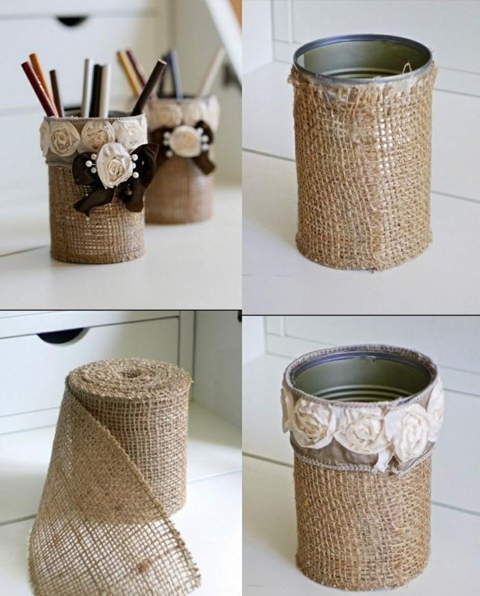 diy porte-crayons en canette recyclé avec décoration en petites fleurs, que faire avec les vieilles boîtes de conserve