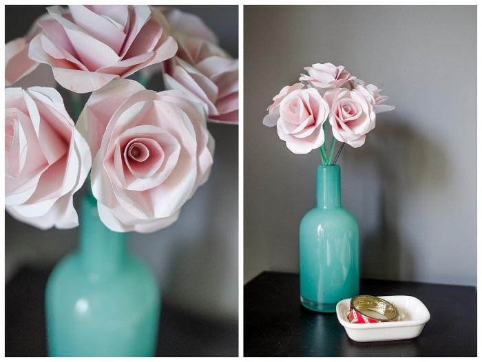 idée déco avec des fleurs en papier, bouquet de roses en papier posé dans un vase couleur menthe à l'eau