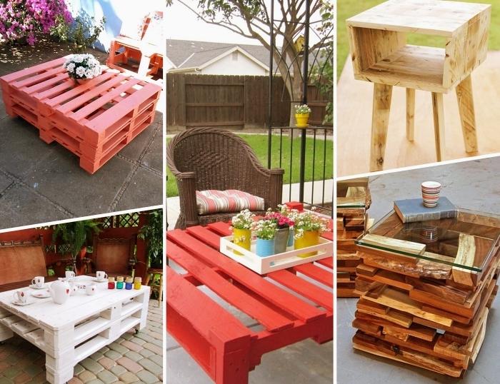 comment relooker un meuble en palette avec peinture, modèles de petite table de jardin fait maison, mobilier de jardin diy