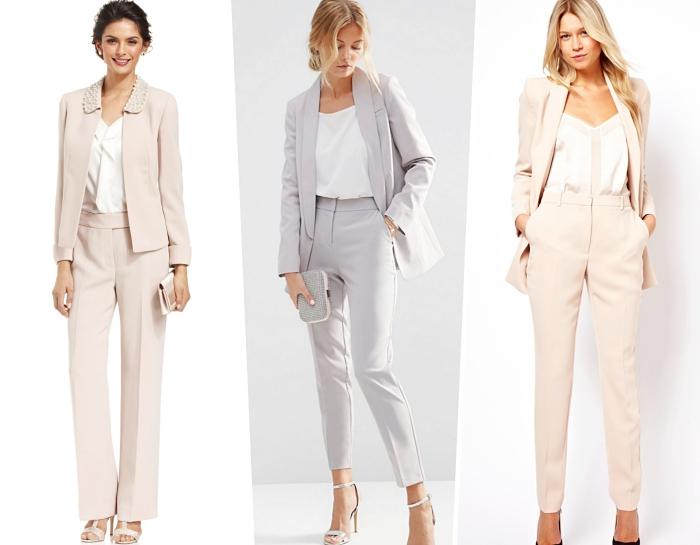 comment s'habiller pour baptême femme, tenue officielle en ensemble tailleur pantalon femme de couleur beige