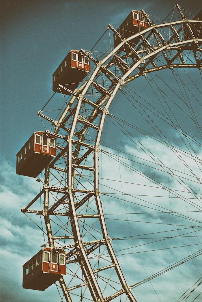 Vienne dessin paysage grande roue, fond d'écran paysage urbain, la beauté du monde