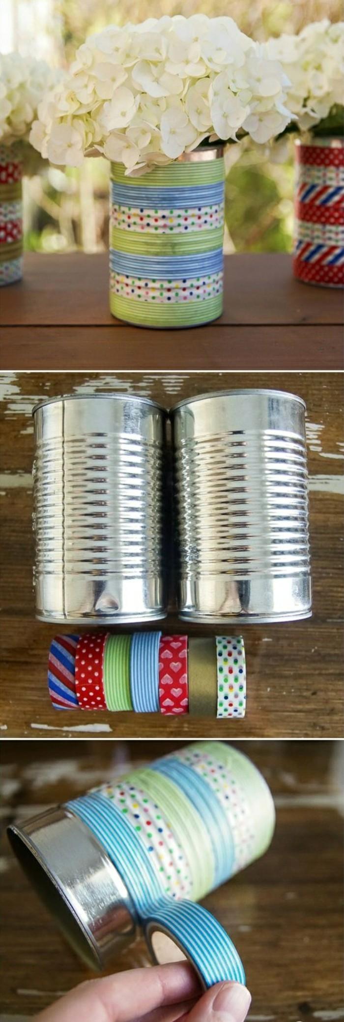 comment recycler les canettes, diy objet de déco fait avec boîte conserve et washi tape, modèle vase personnalisé