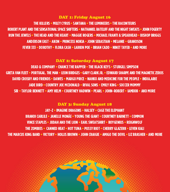 Programmation du festival de Woodstock de 2019 50 ans après 1969, avec Jay Z Santana Miley Cyrus