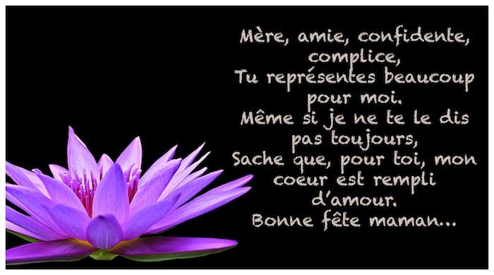 Texte poème pour la mère et belle photo de fleur lys à fond noir, image fête des mères, cadeau fete des meres, les plus belles photos