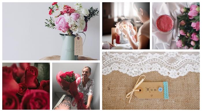 Collage avec photos de fleurs et de femmes avec leurs enfants, la plus belle photo de fleur bonne fete des meres, image fête des mères