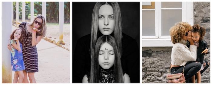 Trois mères et ses filles, visages portraits, bonne fête des mères, cadeau fete des meres, carte design beau