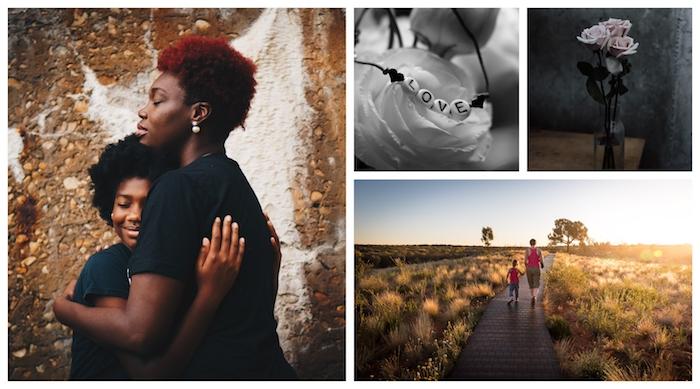 Promenade dans la nature au coucher de soleil, mère et enfant liaison spéciale, carte fête des mères, image fête des mères, carte de voeux 2019
