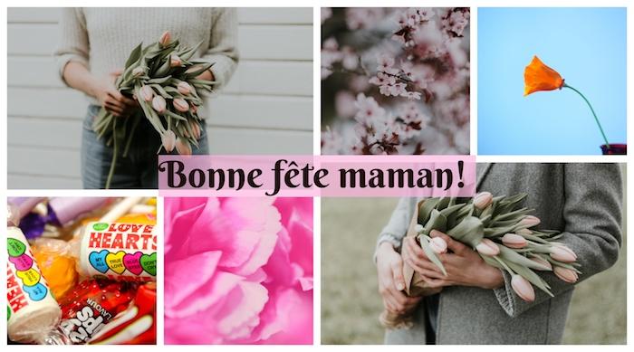 Collage de photographies pour la fête des mères, bonbons, fleurs et branche fleurie photo fete des meres, bonne fete maman, images gratuites pour la fete des meres