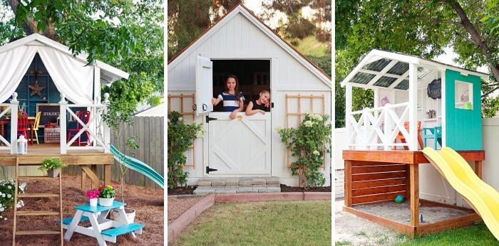 modèle de cabane en bois sur pilotis DIY, faire une petite maison de jardin avec terrasse en bois et toit bois blanc