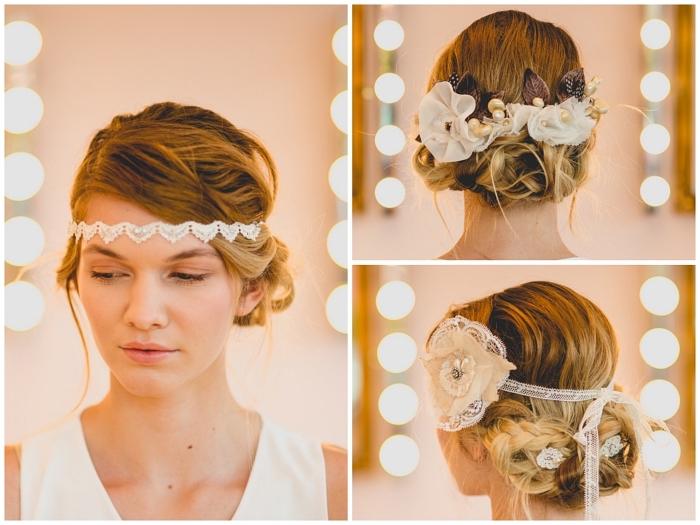 coiffure mariage chignon vintage réalisé à partir des tresses assemblées en chignon bas, coiffure de mariée avec headband et accessoires de cheveux vintage