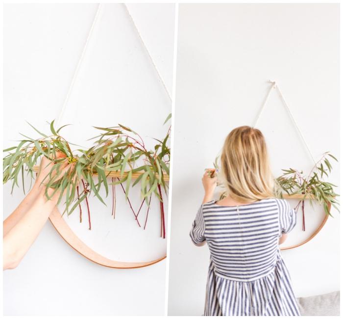 diy déco chambre, robe rayures horizontales, feuilles vertes attachés à une bande accrochée au mur