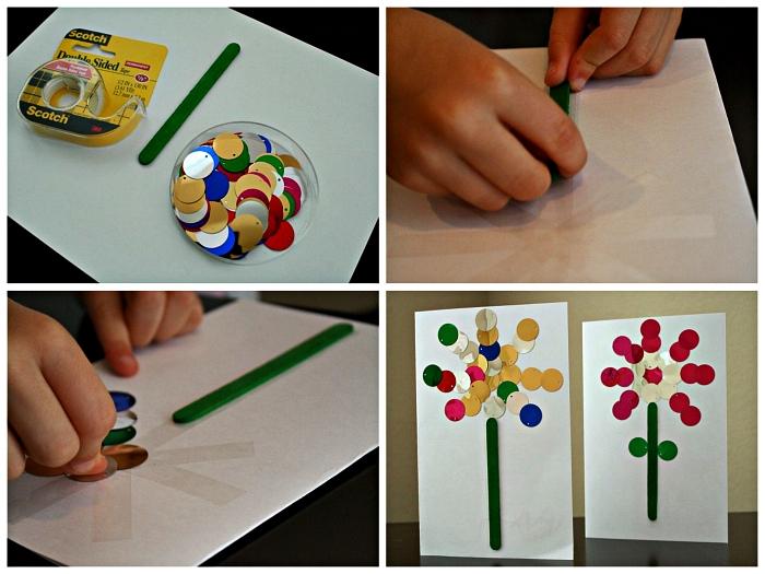 tutoriel facile pour décorer une carte pour la fête des mères avec une fleur en confettis métallisés