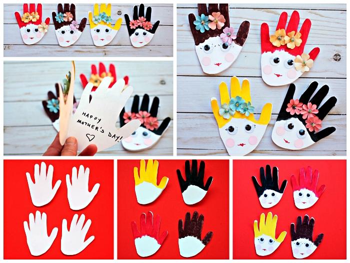 bricolage fête des mères pour tout petit, carte fêtes des mères faite-maison avec visages empreintes de mains