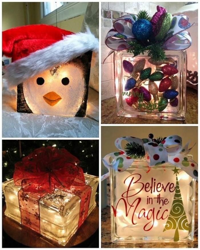 fabriquer des boîtes lumineuses pour Noël, idée décoration de noël à faire soi même, cadeau original a fabriquer