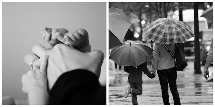 Art photographie noir et blanc, photo des mains de bébé et de mère et une photo dans la pluie mère et enfant qui se promènent avec ses parapluies, bonne fete des meres image