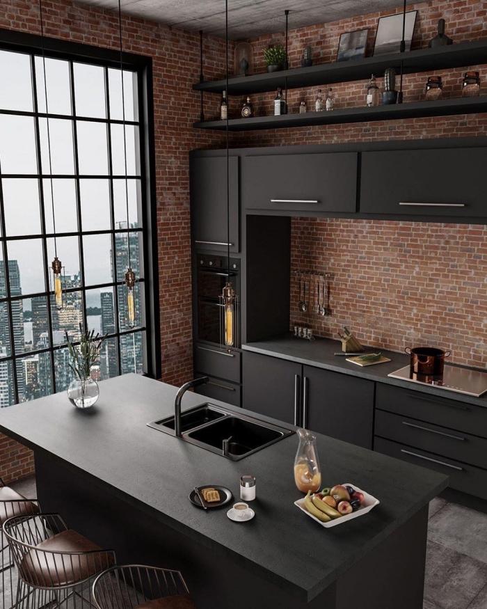 comment décorer une petite cuisine ouverte de style industriel, meubles de cuisine en gris anthracite mate, éclairage ampoules à filament
