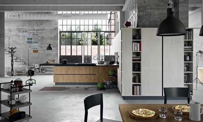 modèle de cuisine bois et gris, déco industrielle de style loft avec peinture béton et meubles en bois et métal