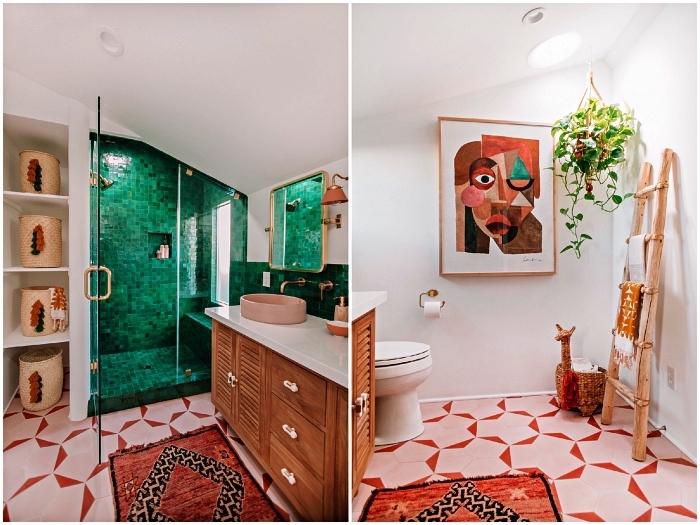 idee deco salle de bain bohème chic au carrelage graphique en rose et orange, cabine de douche aménagée sous pente en carrelage zellige vert émeraude