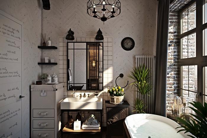 salle de bain de style campagne chic aux accents industriels en carrelage motifs chevrons couleur beige