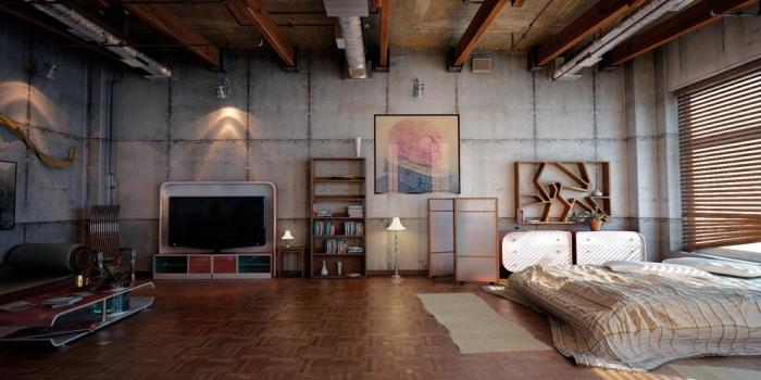 comment décorer une chambre à coucher dans un loft, idée meuble style industriel en bois brut, lampe sur pied métal