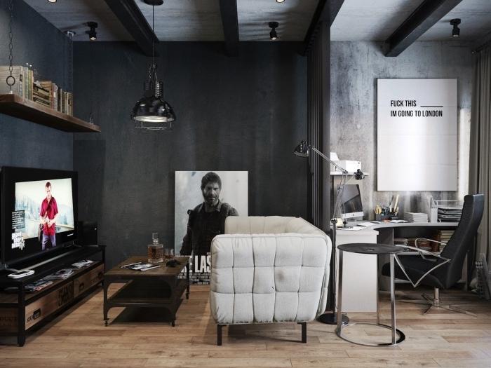 exemple de salon moderne aux murs gris anthracite avec plafond poutres apparentes, modèle étagère suspendue industrielle en fer et bois brut