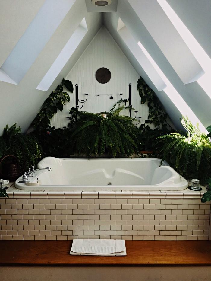aménagement petite salle de bain sous les combles, baignoire balnéo encastrée sous pente entourée de plantes vertes pour une ambiance zen et nature