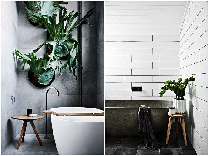 ambiance zen et nature dans une salle de bain blanc et gris aux lignes épurées et aux accents végétaux